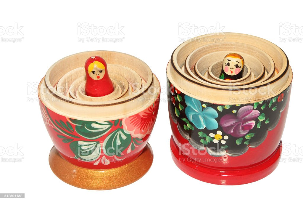 Russian matryoshka doll on white background stock photo
