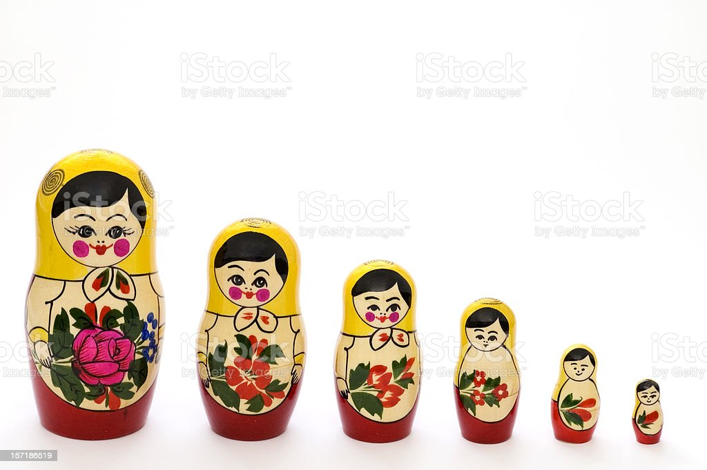 Russian matryoshka dolls in different sizes stock photo