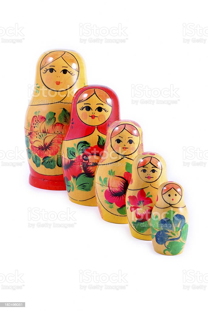 Russian Matryoshka Nested Babushka Dolls stock photo