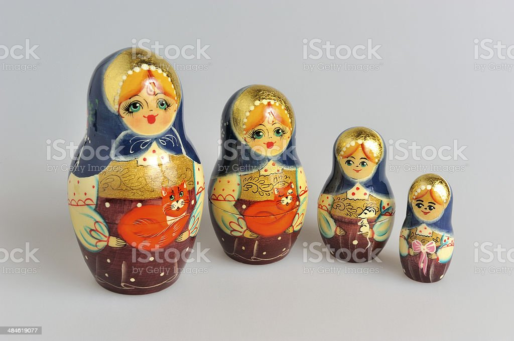 Russian matryoshka on gray stock photo