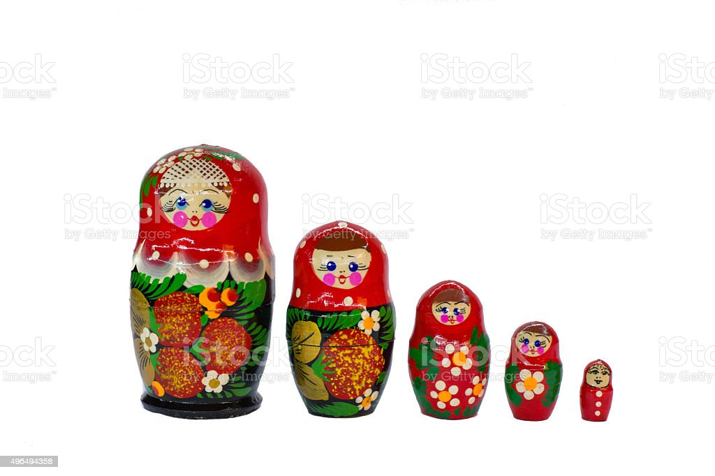 Russian Matryoshka wooden dolls souvenirs stock photo