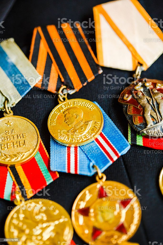 Russian Medals of a victory in the Great Patriotic War stock photo