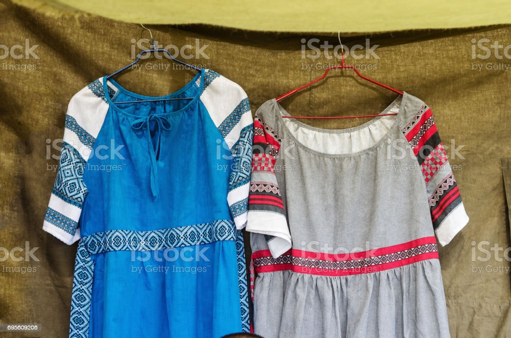 Russian medieval women's clothing stock photo