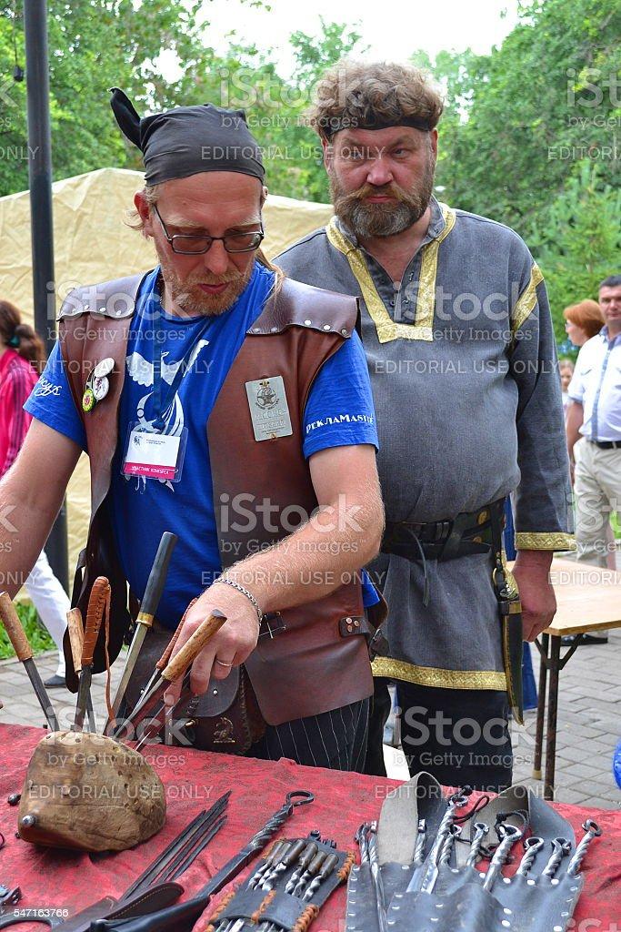 Russian men, people, festival, artisans, craft, look. stock photo
