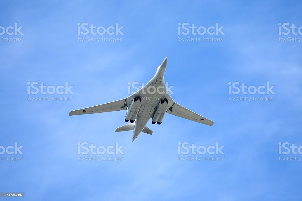 Russian military aircraft in flight stock photo