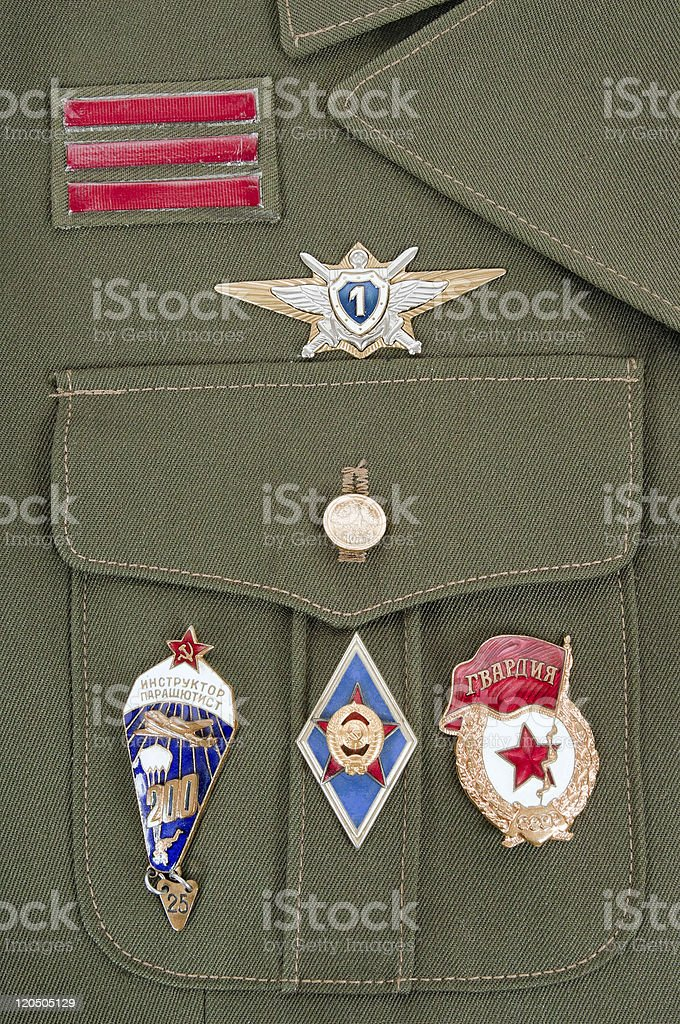 Russian military badges on green uniform royalty-free stock photo