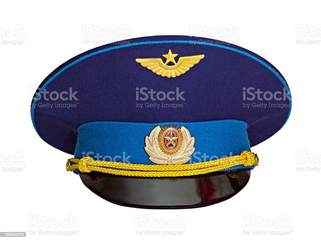 Russian military pilot's cap stock photo