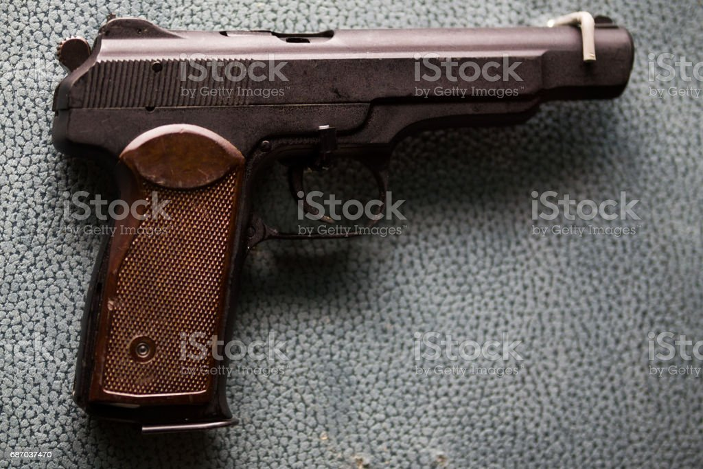Russian military pistol - APS Stechkin - soviet weapon stock photo