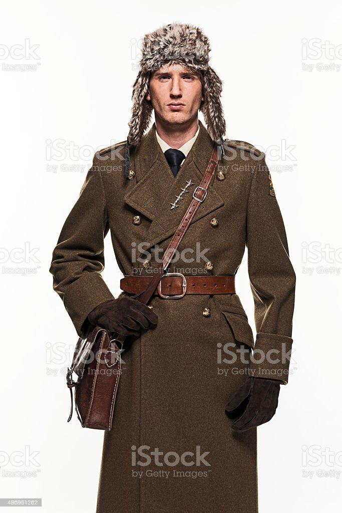 Russian military uniform fashion man against white background. stock photo
