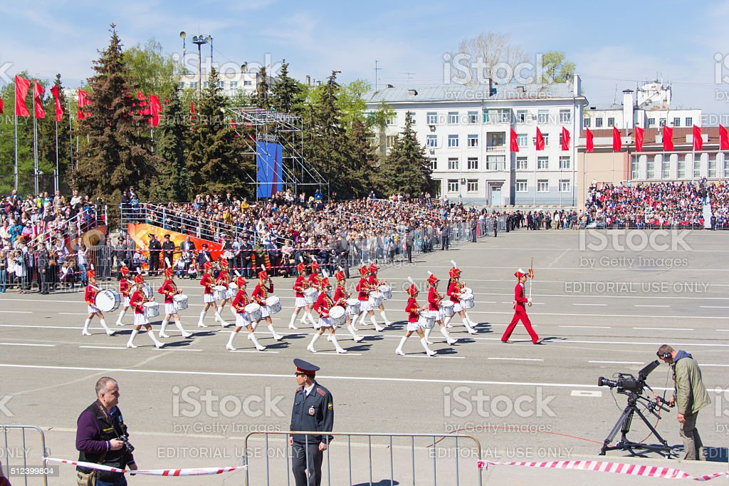 Russian military women orchestra march at the parade stock photo