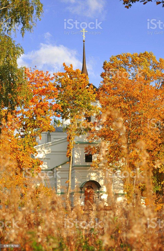 Russian monastery in autumn stock photo