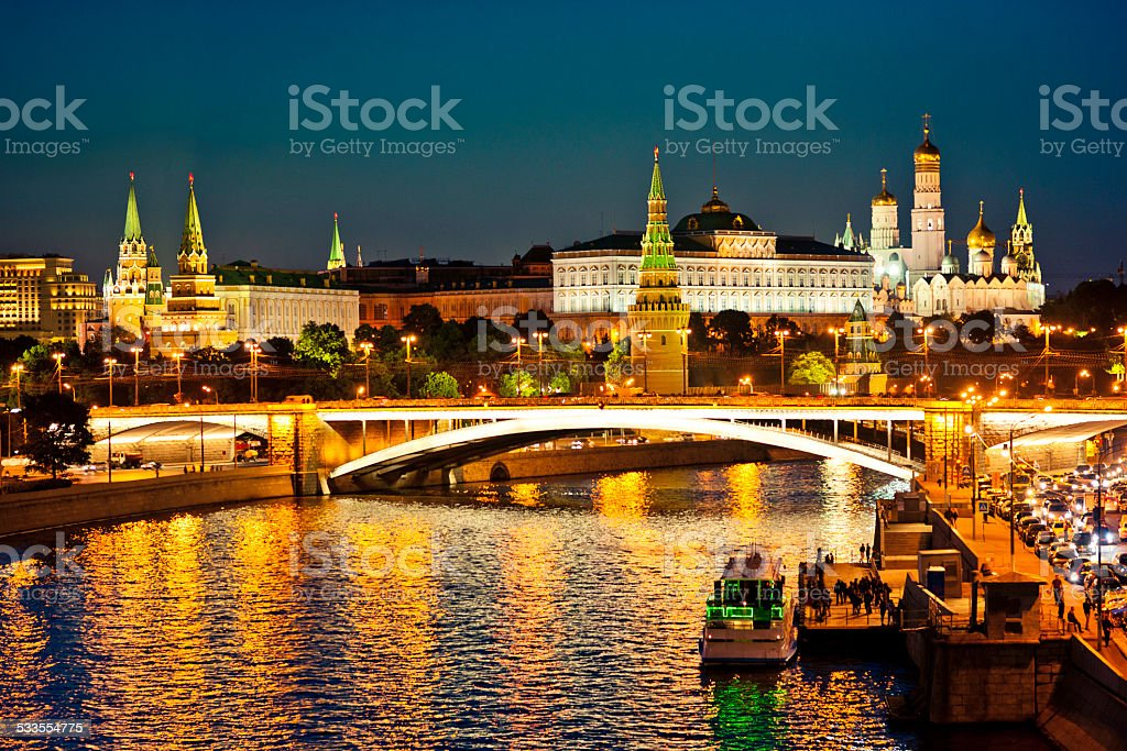 Russian Moscow Kremlin and Moscow river stock photo
