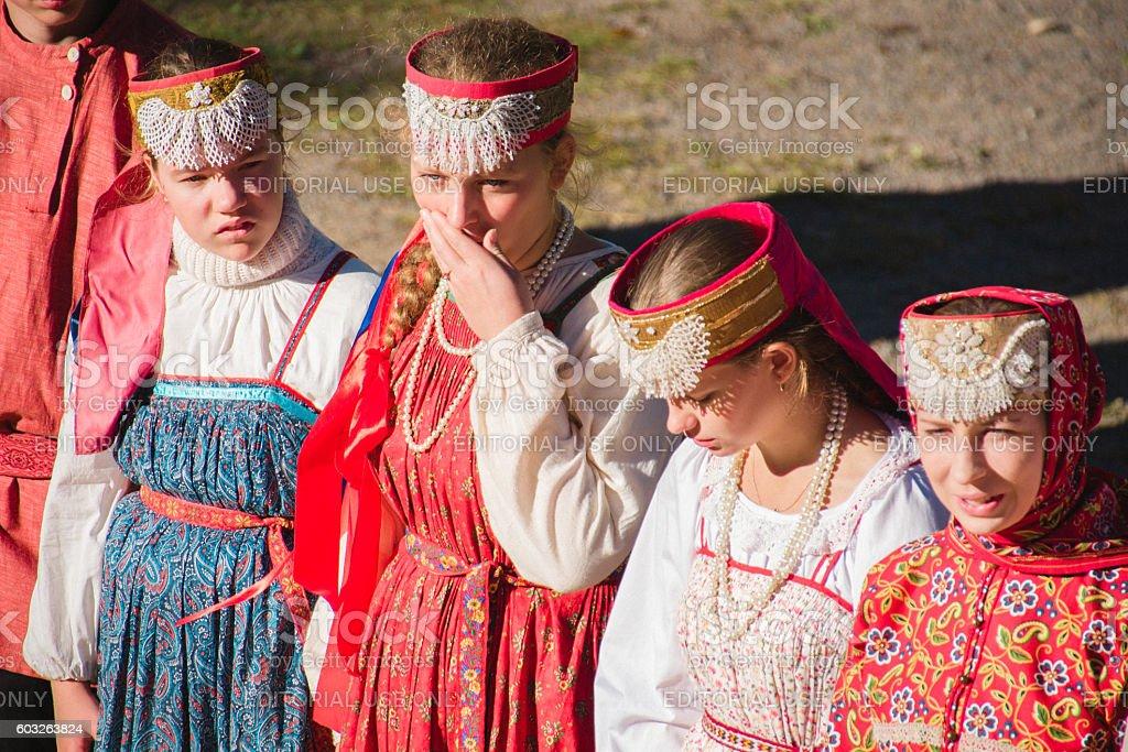 Russian national dress stock photo