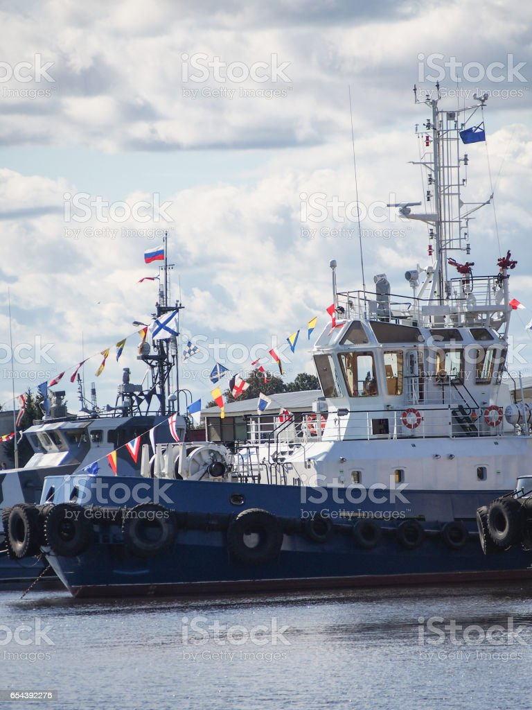 Russian Naval Ship in Kronstadt stock photo