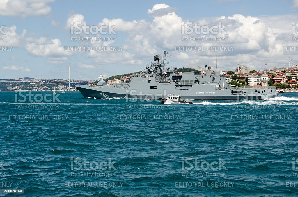 Russian Navy Frigate Admiral Grigorovich stock photo