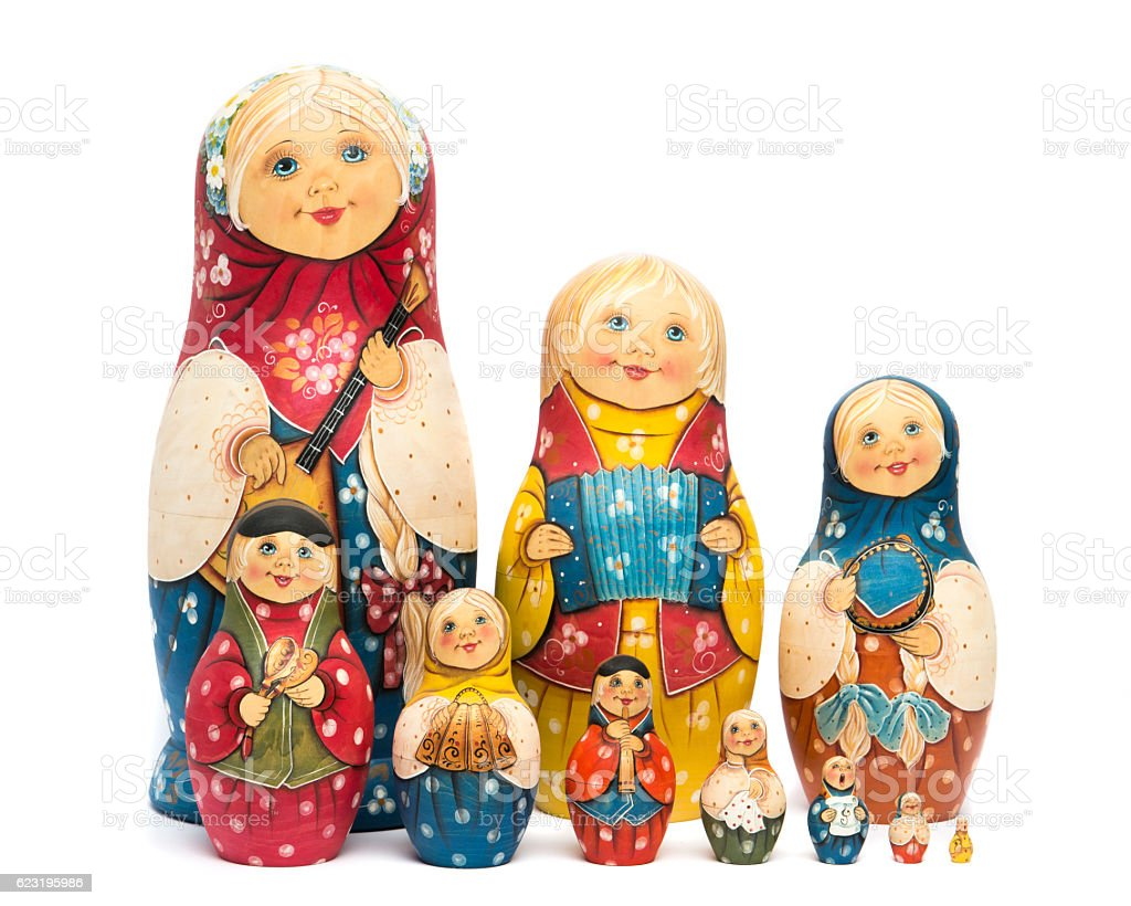 Russian nested dolls matte painted and isolated stock photo
