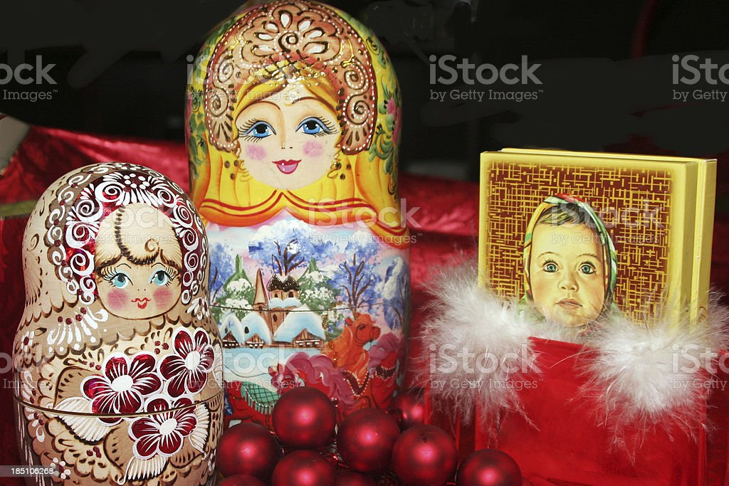 Russian Nesting dolls and chocolate royalty-free stock photo