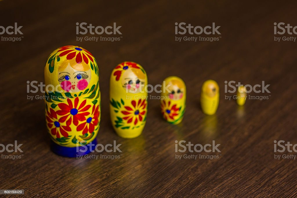 Russian nesting dolls,  babushkas or matryoshkas stock photo