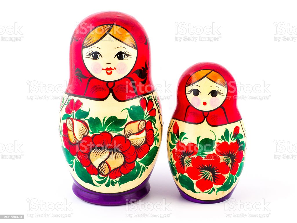 Russian nesting dolls. Babushkas or matryoshkas. Set of 2 pieces stock photo