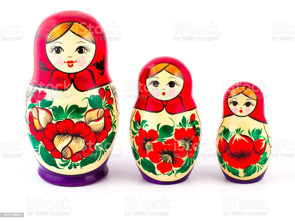Russian nesting dolls. Babushkas or matryoshkas. Set of 3 pieces stock photo