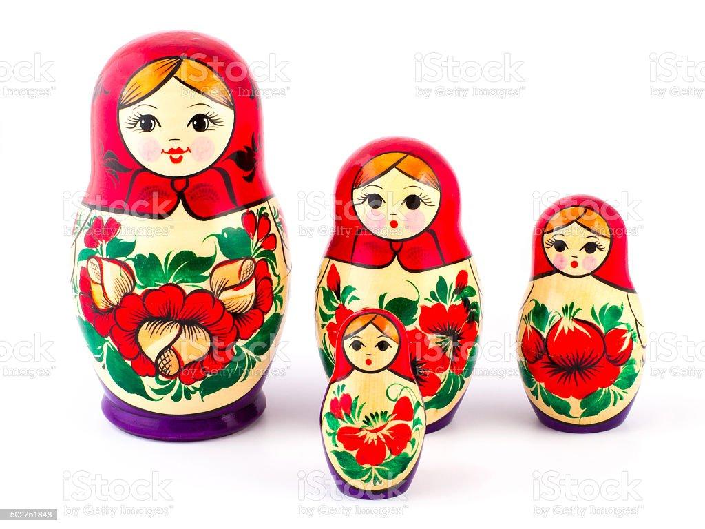 Russian nesting dolls. Babushkas or matryoshkas. Set of 4 pieces stock photo