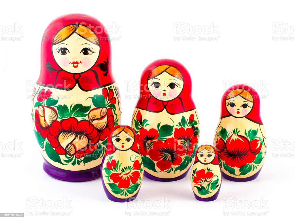 Russian nesting dolls. Babushkas or matryoshkas. Set of 5 pieces stock photo