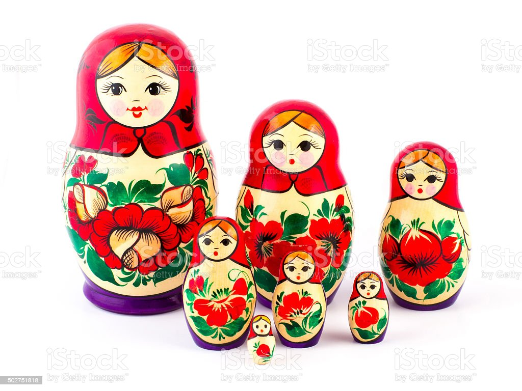 Russian nesting dolls. Babushkas or matryoshkas. Set of 7 pieces stock photo