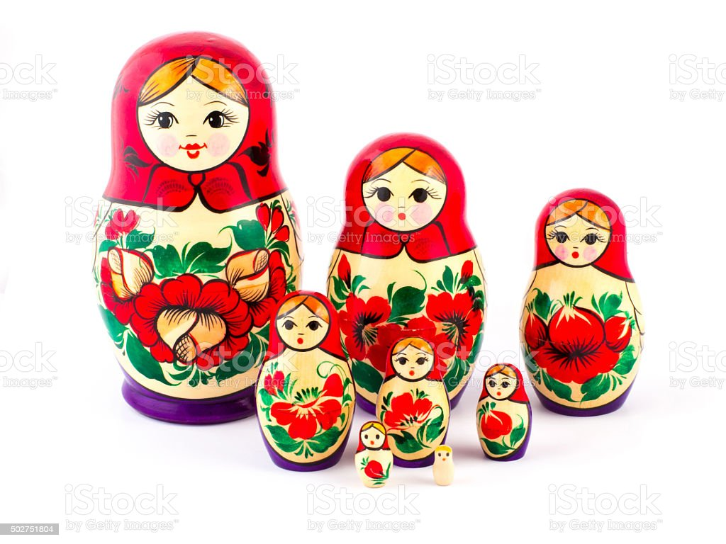 Russian nesting dolls. Babushkas or matryoshkas. Set of 8 pieces stock photo