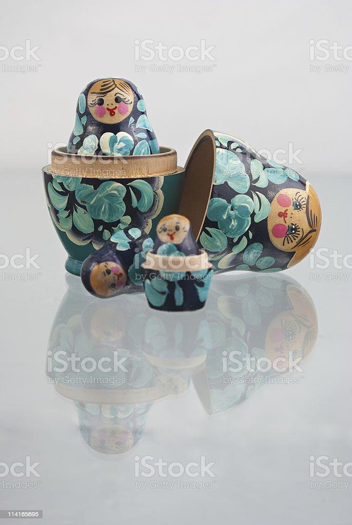 russian nesting dolls (babushka) half open royalty-free stock photo