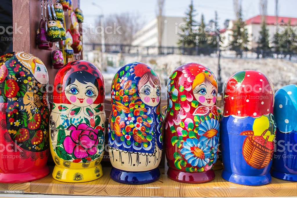 Russian Nesting Dolls in a Line stock photo