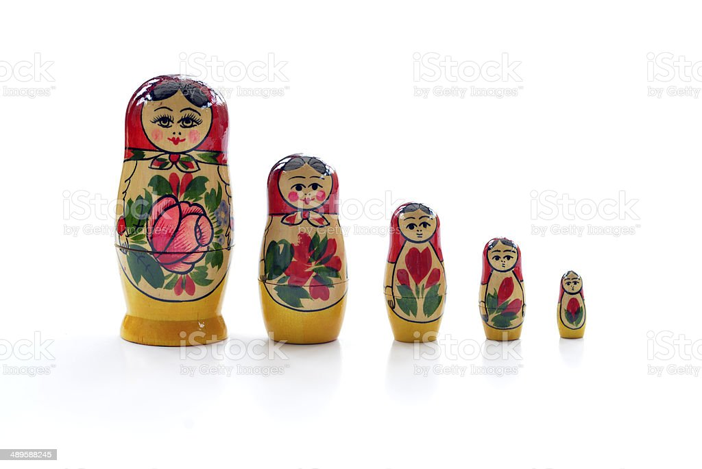 Russian nesting dolls in a row, royalty-free stock photo