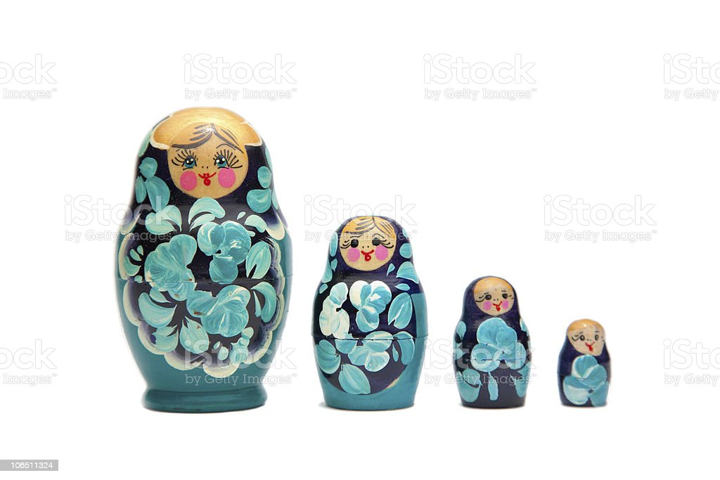 russian nesting dolls (babushka) in a straight line royalty-free stock photo