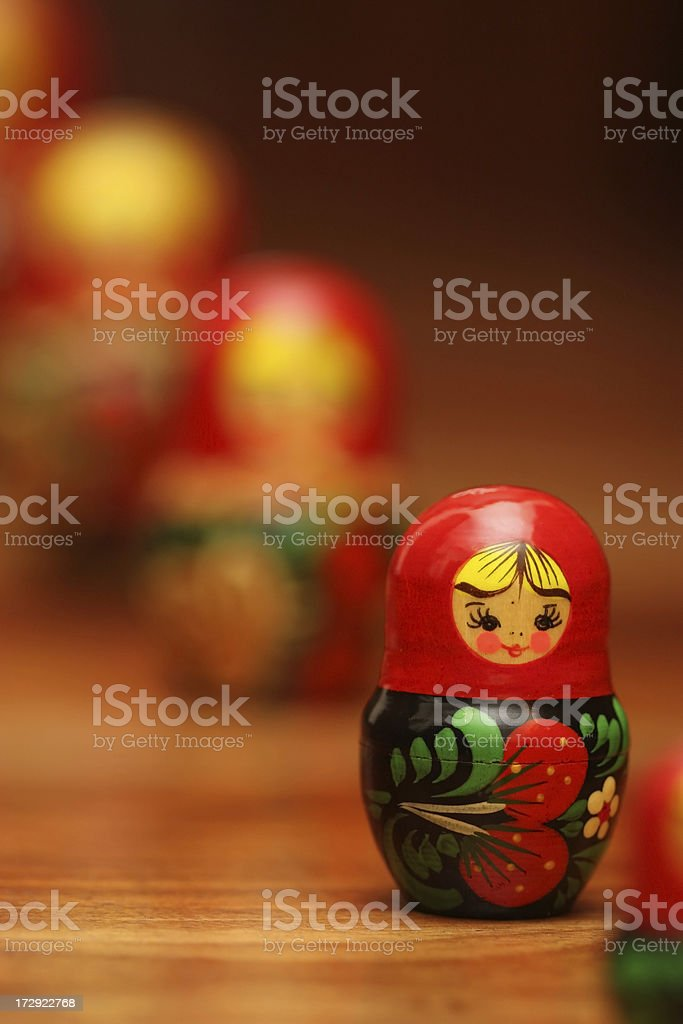 Russian Nesting Dolls ( Matryoshka ) in Queue royalty-free stock photo