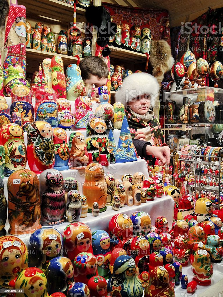 Russian Nesting Dolls Selling at Paris Christmas Market royalty-free stock photo