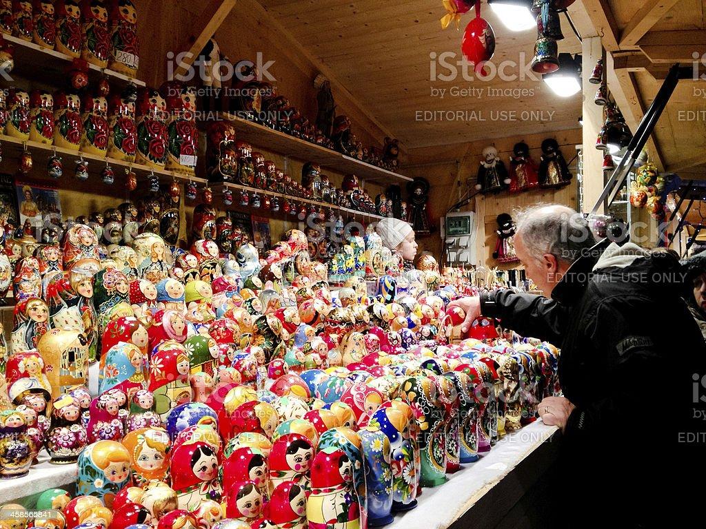 Russian Nesting Dolls Selling at Paris Christmas Market royalty-free stock photo