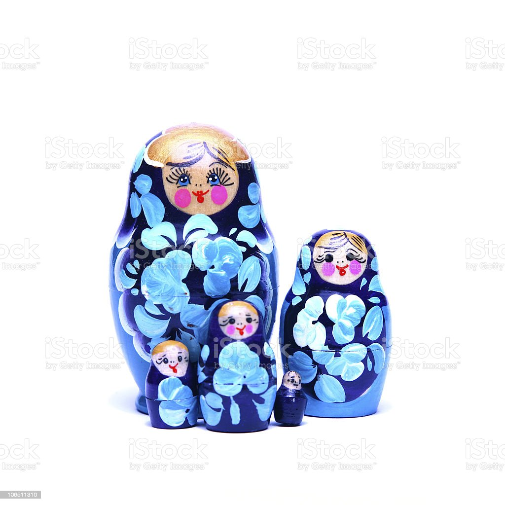 russian nesting dolls (babushka) together royalty-free stock photo