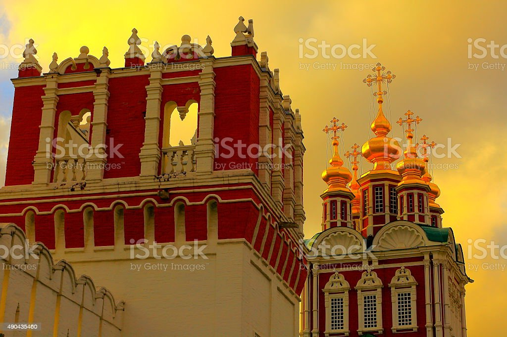 Russian Novodevichy Convent Monastery chapel kremlin, dramatic sunset, Moscow stock photo