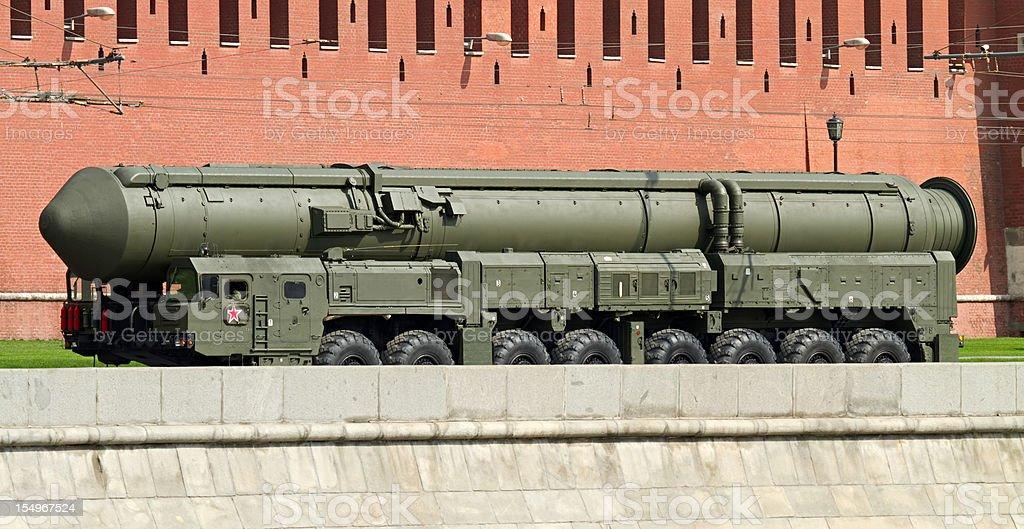Russian nuclear missile Topol-M near the Kremlin stock photo