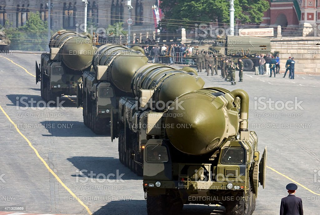 Russian nuclear missiles 'Topol-M' in military parade, Moscow stock photo