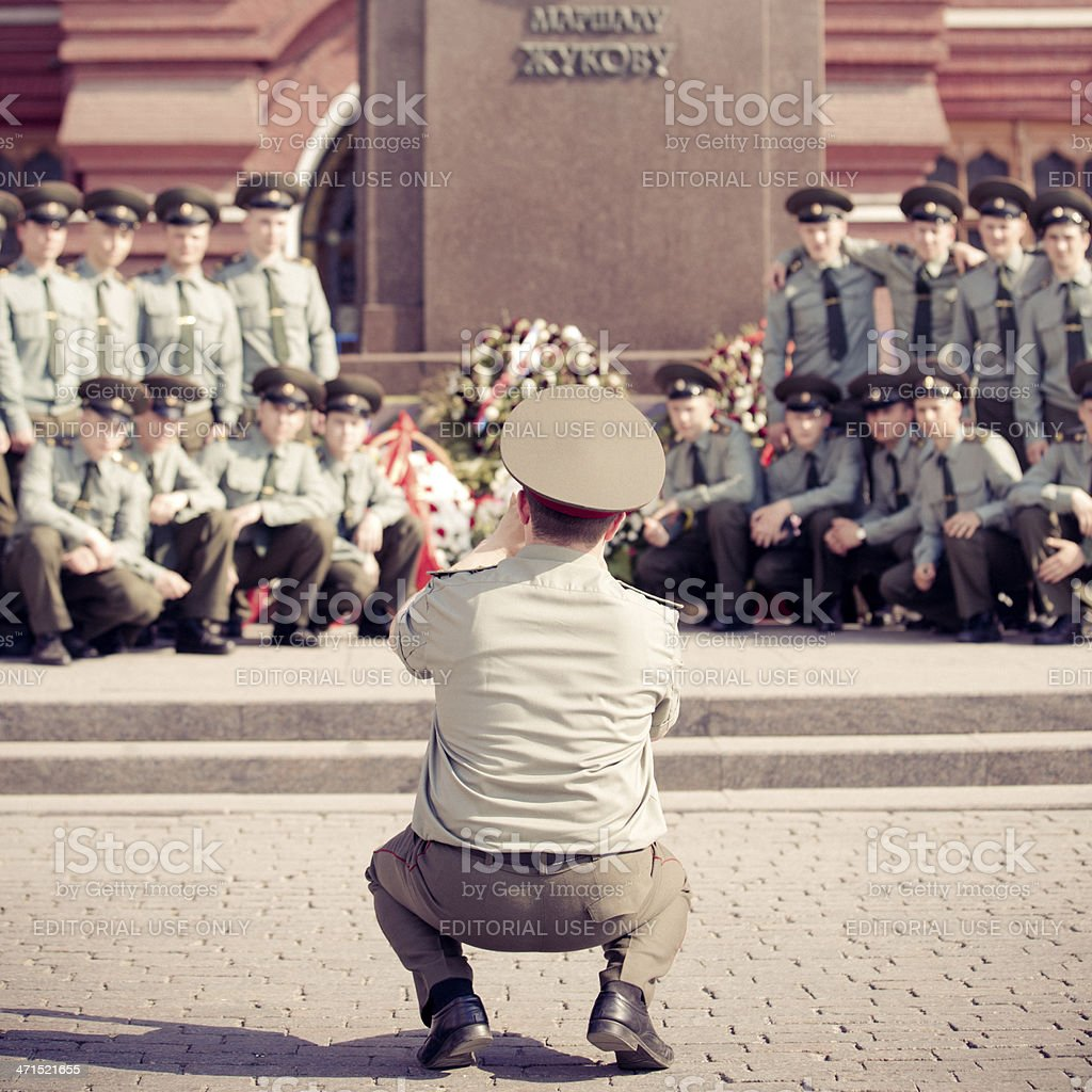 Russian Officer taking a Soldier Group Shot Moscow stock photo