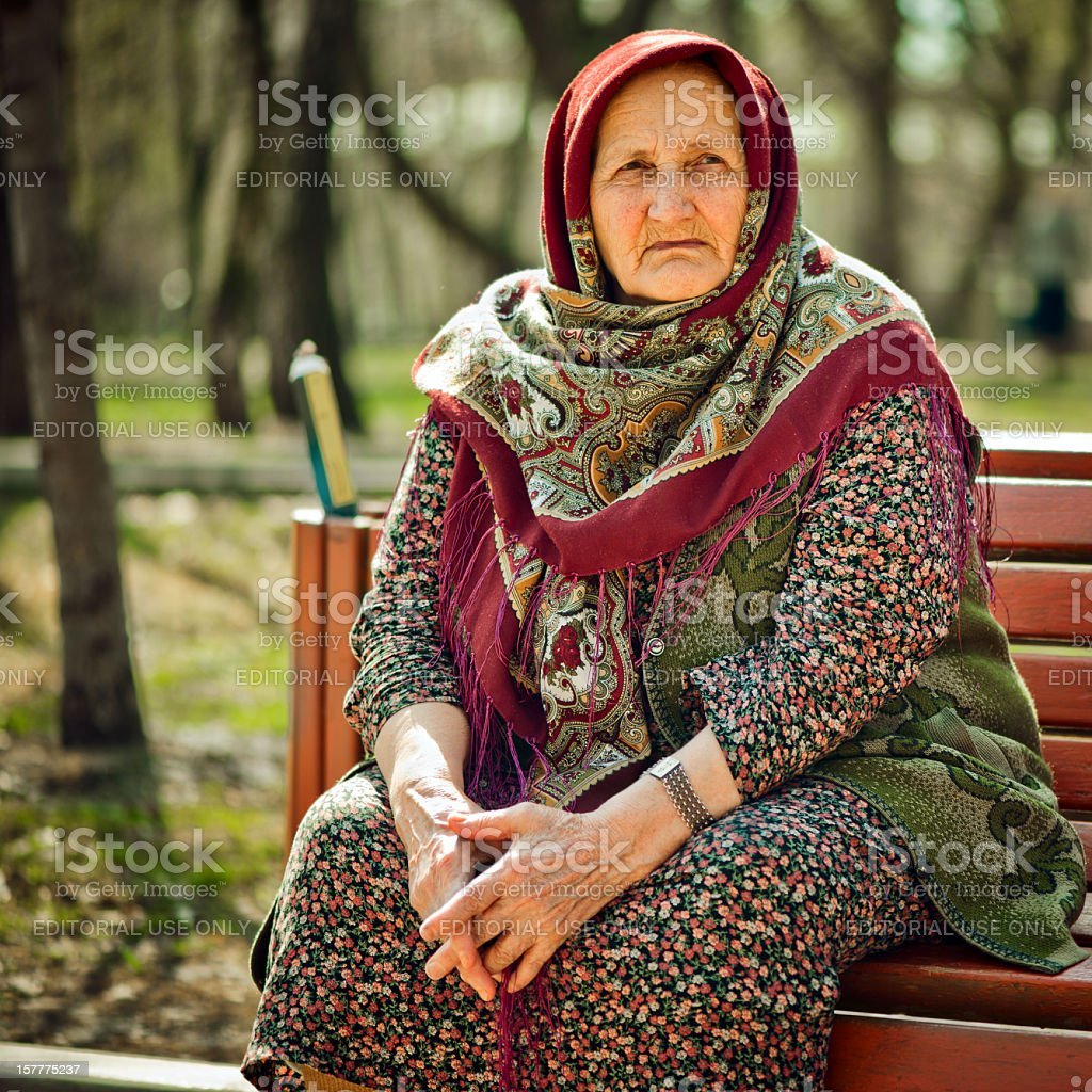 Russian old lady stock photo