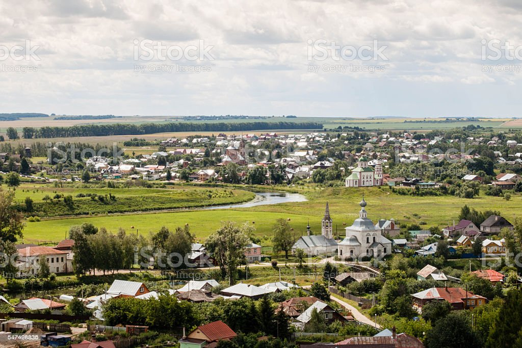 russian old town lndscape with church stock photo