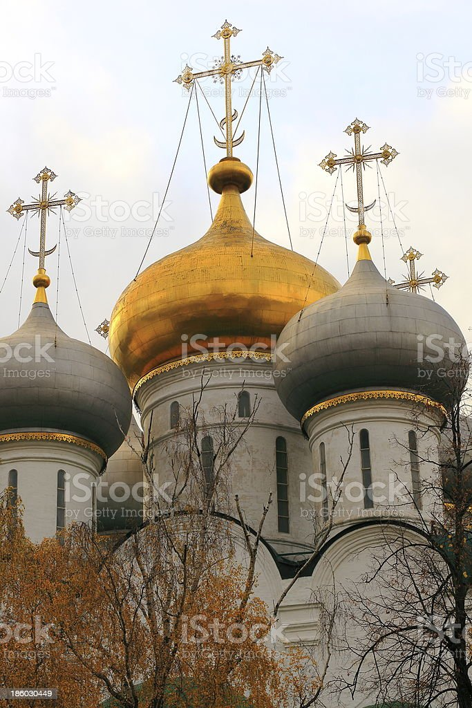 Russian Onion Cross Domes in Novodevichiy Convent, Moscow stock photo