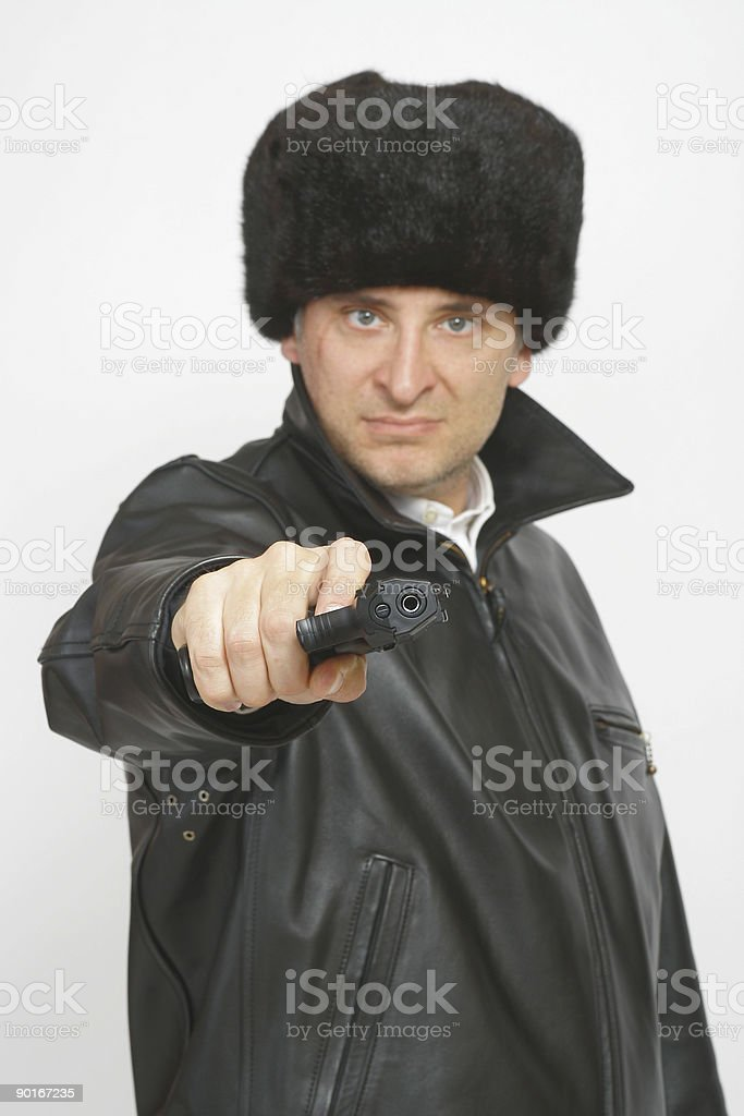 Russian or Eastern European Criminal Gangster With Gun royalty-free stock photo