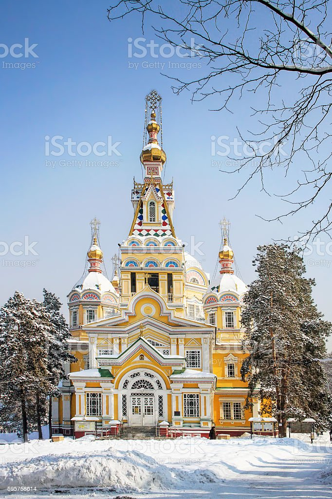 Russian Orthodox Cathedral in Almaty, Kazakhstan stock photo