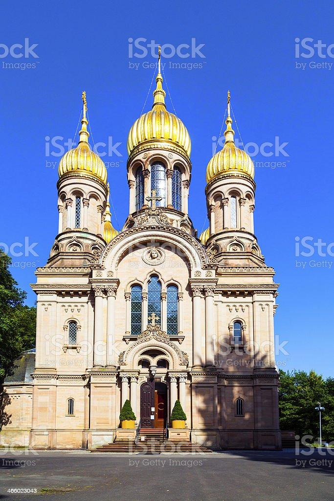 Russian orthodox chapel Wiesbaden, Germany stock photo