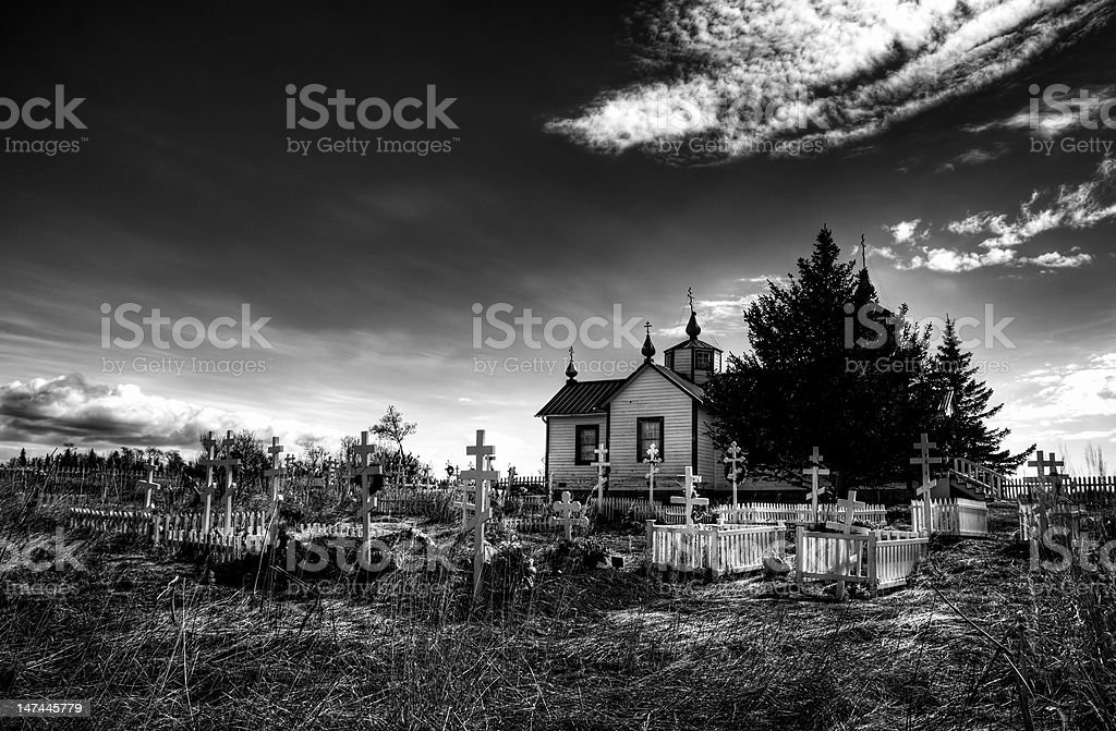 Russian Orthodox church and cemetery in Nikiski Alaska royalty-free stock photo