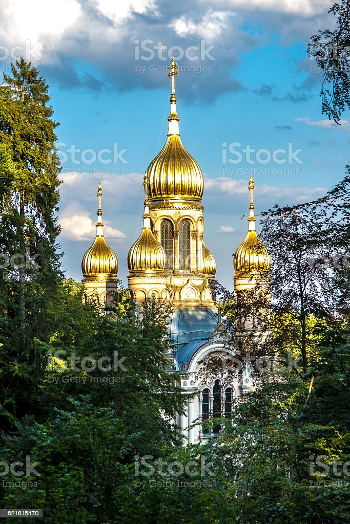 Russian Orthodox Church at the Neroberg, Wiesbaden, in Germany stock photo