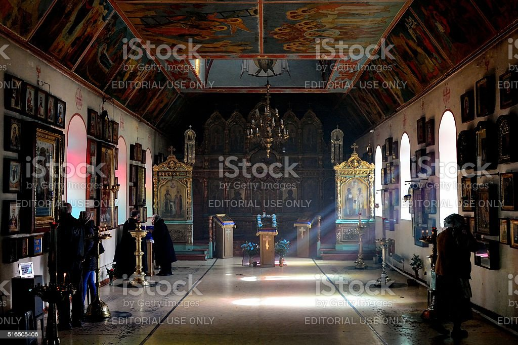 Russian Orthodox Church in Baku, interior stock photo