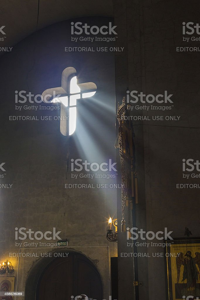 Russian orthodox church interior with the ray of light royalty-free stock photo